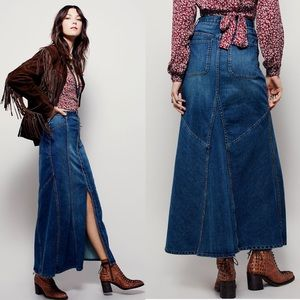Free People Penelope Denim Maxi Skirt Button Front